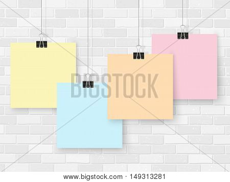 Posters On Binder Clips Mockup Brick Wall Colorful Notes
