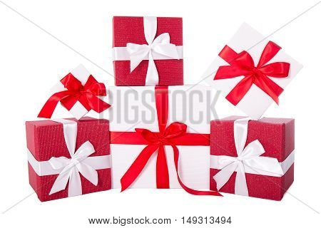 Birthday Or Christmas Concept - Red And White Gift Boxes Isolated On White