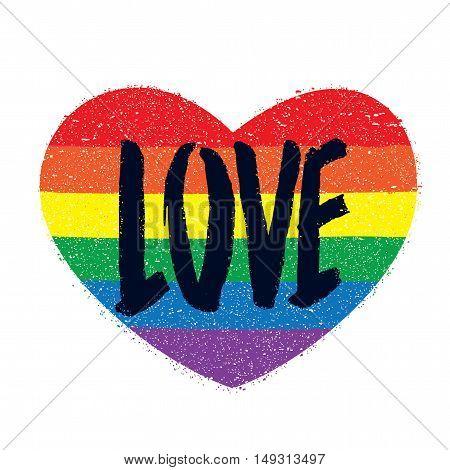 Rainbow color heart. Gay symbol. A word 'love