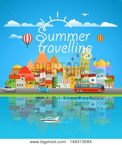 Summer travelling concept. Cityscape Vector travel illustration