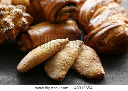 Bakery products on table