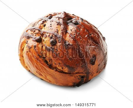 Sweet tasty bun isolated on white