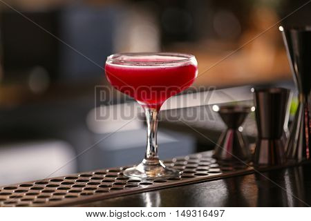 Tasty long drink on bar counter