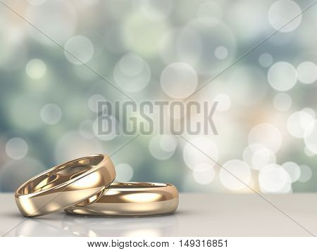 A pair of gold wedding rings with bokeh background. 3d rendered
