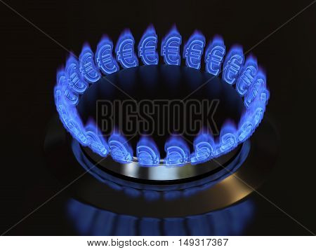 Gas with a euro sign burns from the kitchen stove. Cost of gas gaz price concept 3d illustration.