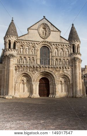 Exterior of Notre Dame la Grande church in Poitiers detail of facade France