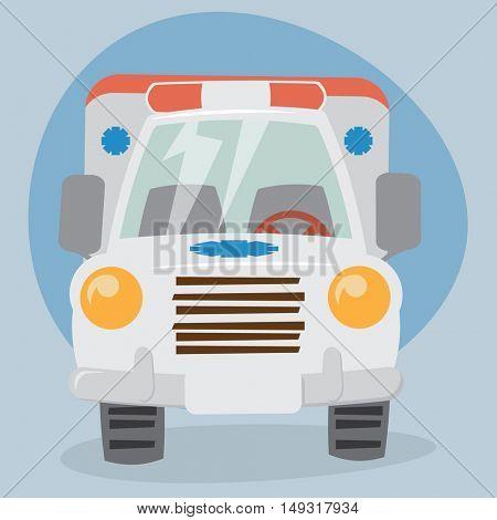 Cartoon Ambulance Car - front view