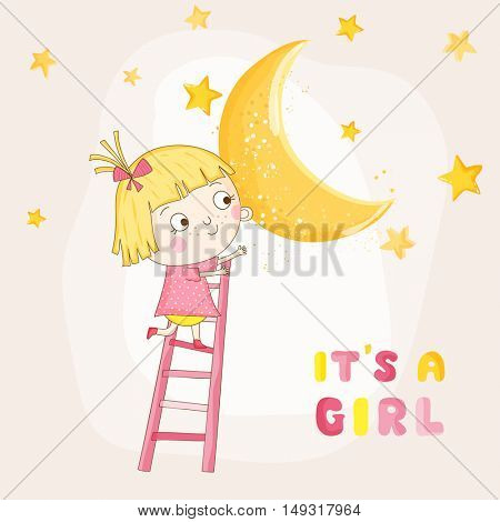 Baby Girl Climbing on a Moon - Baby Shower or Arrival Card - in vector