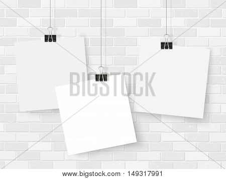 Posters On Binder Clips Mockup Brick Wall Square Notes