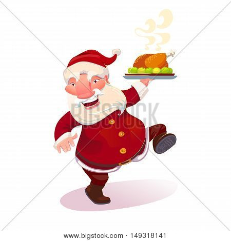 Dancing Santa Claus holding serving dish with holiday turkey. Cartoon christmas character. Vector illustration.
