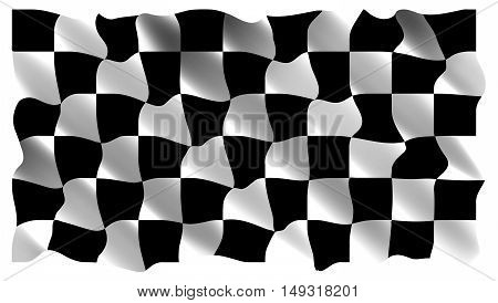 Black and white checkers the realistic rushing flag. Vector illustration