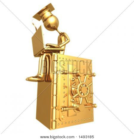Golden Grad On Bank Safe With Laptop Graduation Concept
