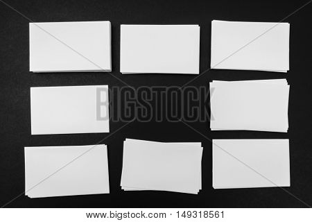 Business cards on black background