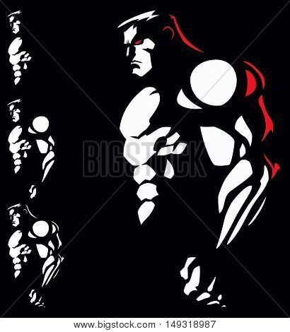 Illustration of muscular athlete in 2 colors.