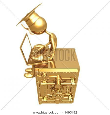 Geoz04353Golden Grad On Bank Safe With Laptop Graduation Concept