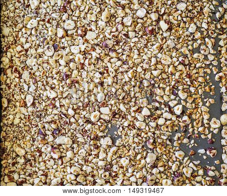 Diced, chopped or cracked roasted hazelnuts from top. Nuts background. Close-up.