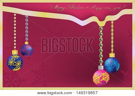 Merry Christmas and New Year Greeting with red and blue Christmas balls
