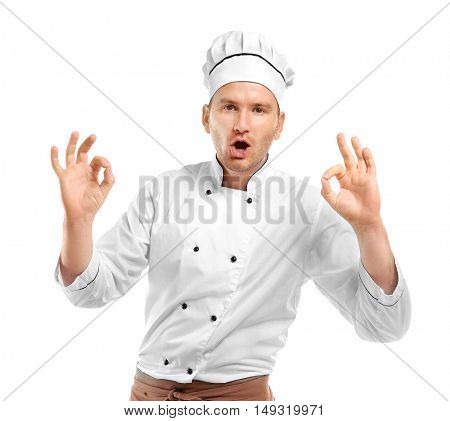 Young chef cook isolated on white