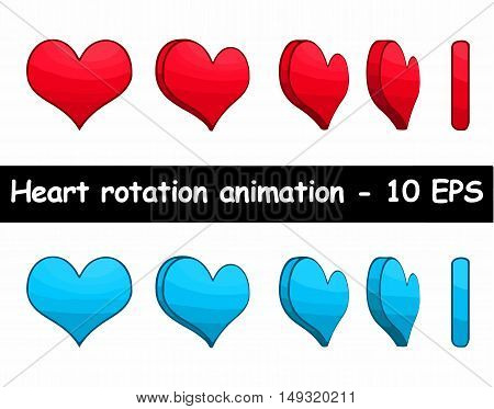 Heart different rotation animation. Vector illustration set