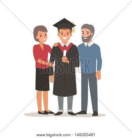 Graduated student with parents. Vector flat illustration.
