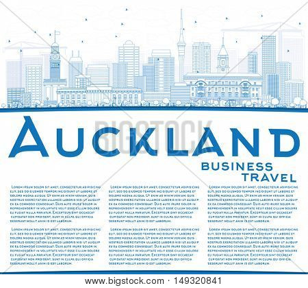 Outline Auckland Skyline with Blue Buildings and Copy Space. Vector Illustration. Business Travel and Tourism Concept with Modern Architecture. Image for Presentation Banner Placard and Web Site.
