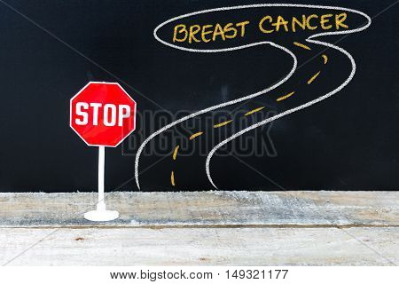 Mini Stop Sign On The Road To Breast Cancer