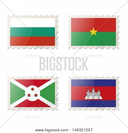 Postage Stamp With The Image Of Bulgaria, Burkina Faso, Burundi, Cambodia Flag.