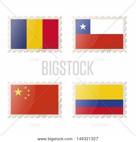 Postage Stamp With The Image Of Chad, Chile, China, Colombia Flag.