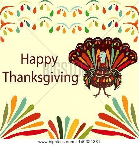 Vector illustration Thanksgiving day Beautiful colorful ethnic turkey bird. Happy Thanksgiving  painting hand draw  bright background.