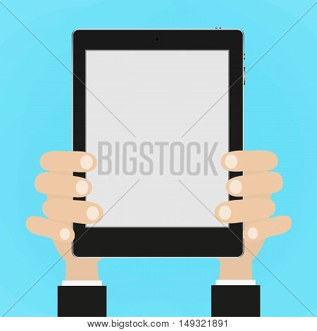 Business man holds and manages tablet computer with white blank screen. Using digital tablet pc. Flat design concept with copy space. Vector illustration EPS10
