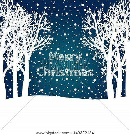 Merry Christmas and Happy New Year 2017 Christmas greeting card. Vector winter holidays landscape background with trees snowflakes falling snow.