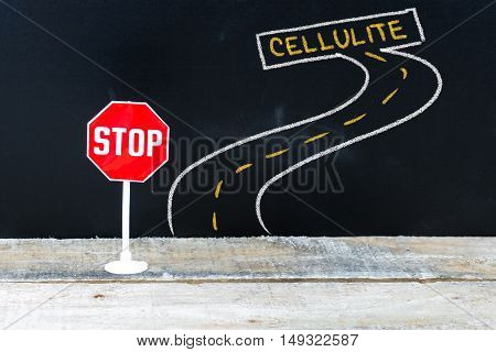 Mini Stop Sign On The Road To Cellulite