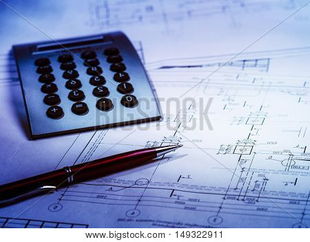 Architectural drawings and tools. Concept of home architecture.