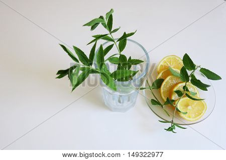 Closeup of ingredients for fresh lemonade with a frosted glass on a white background