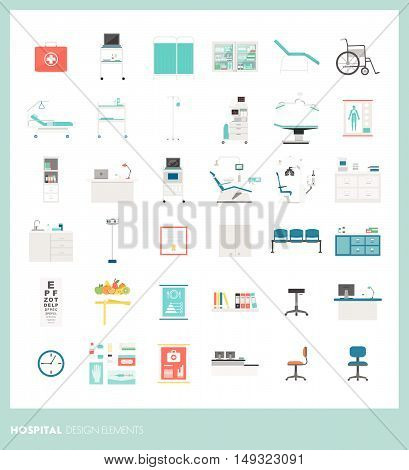 Medical equipment and tools hospital and healthcare design elements