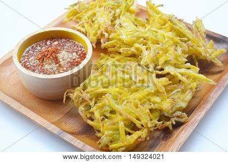 fried pumpkin chips and sauce, appetizer, Vegetarian Festival,