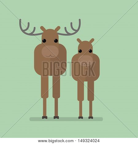 Wild animals elks. Isolated vector illustration of a flat