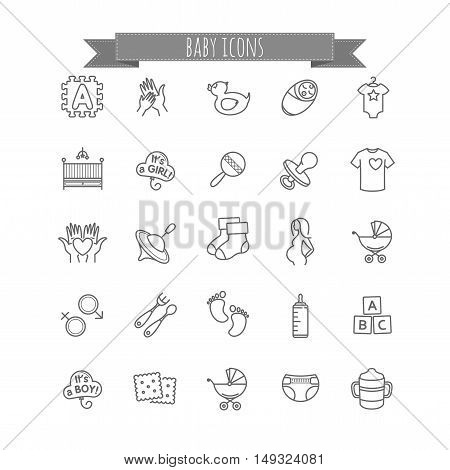 baby icons - stock vector set for your design
