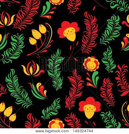 Seamless abstract hand-drawn floral pattern. Russian style