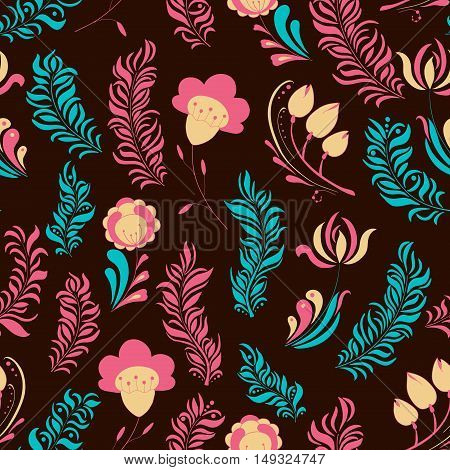 Seamless abstract hand-drawn floral pattern. Summer style