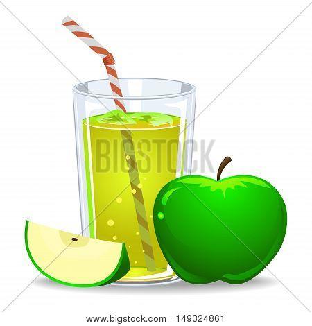 Vector Illustration of Green Apple Juice Drink