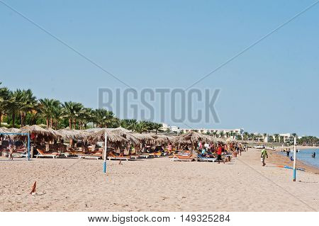 Hurghada, Egypt -20 August 2016: Beach With People In Resort