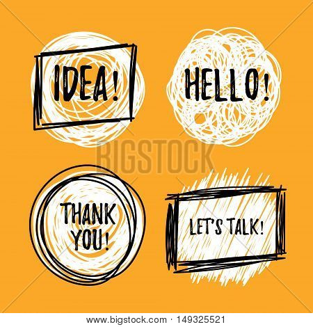Hand drawn block quote speech bubbles in trendy grunge style. Black and white. Vector speech bubbles with phrases Let's talk Thank you Hello Idea. Quote blank set.