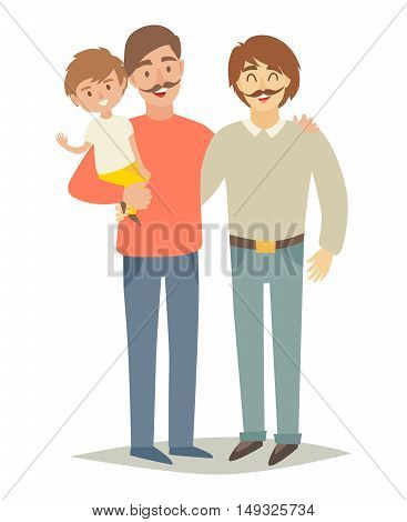 Gay family with adopted child. Two father's and son parents couple. Family lifestyle. Happy little baby on man's hands. Vector illustration isolated on white background