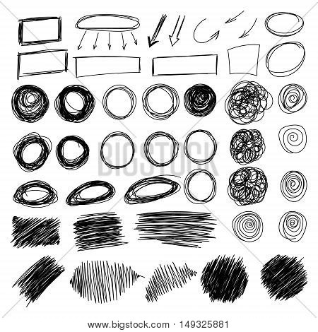 Mega collection of Hand drawn scribble circle, oval, rectangle, border elements. Vector abstract black pencil doodles set of shapes, frames isolated on white background.