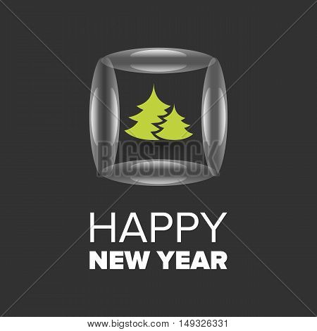 Happy New Year badge with tree on a black background