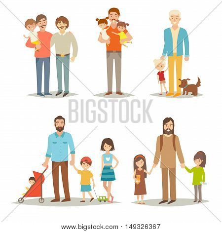 Single father with children. Happy family young group: little sisters brothers and father. Cartoon character people.Gay family and adopted child. Flat vector illustration isolated on white background