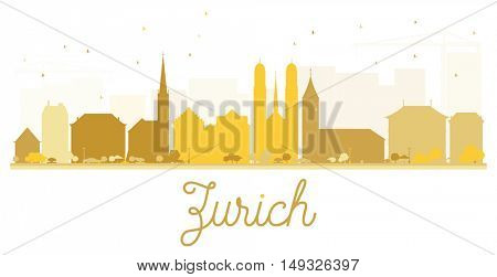 Zurich City skyline golden silhouette. Vector illustration. Simple flat concept for tourism presentation, banner, placard or web site. Business travel concept. Cityscape with landmarks