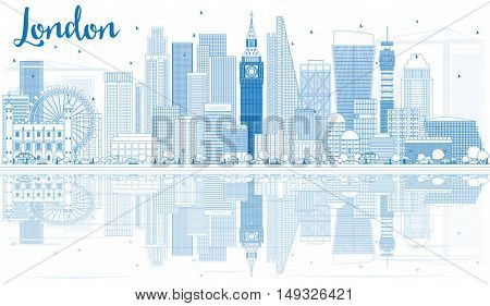 Outline London Skyline with Blue Buildings and Reflections. Business Travel and Tourism Concept with Modern Architecture. Image for Presentation Banner Placard and Web Site.