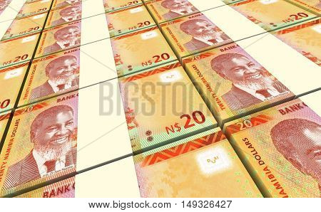 Namibian dollars bills stacks background. 3D illustration.